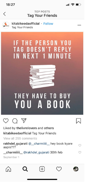 """Instagram post from @kitabikeedaofficial advertising a contest where the rule is """"if the person you tag doesn't reply in one minute, they have to buy you a book"""""""