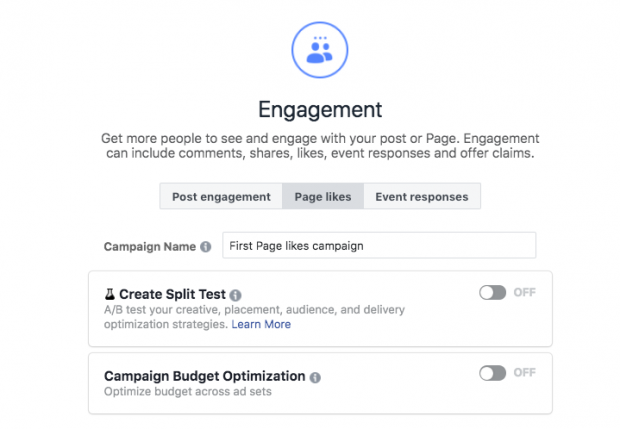 Choosing Engagement option when setting up a Facebook ad