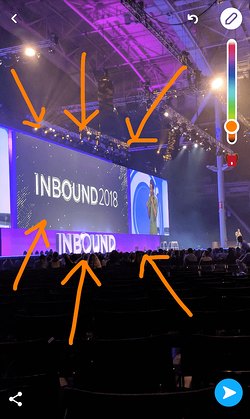 Snapchat from INBOUND 2018 with orange arrows drawn from the draw icon