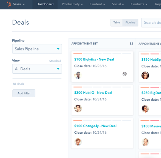 Example of HubSpot CRM