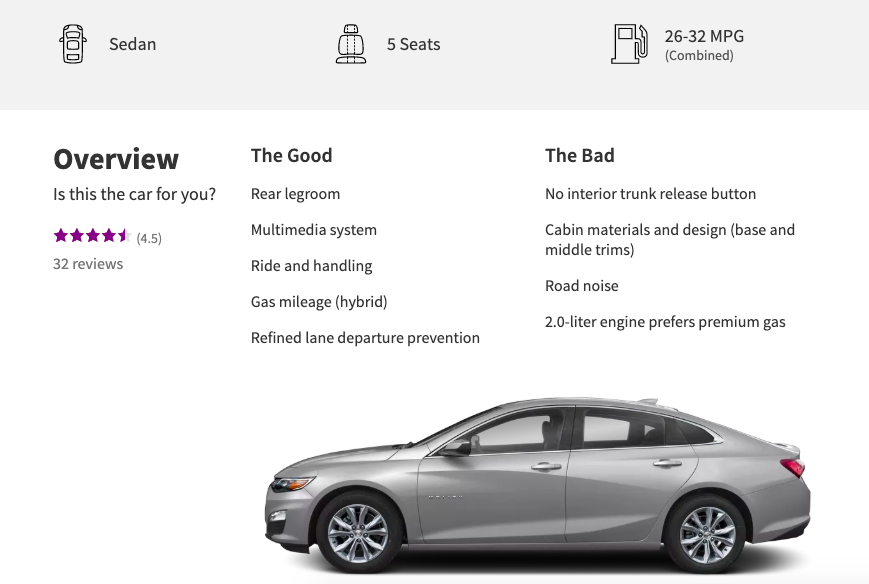 Informational marketing about a car