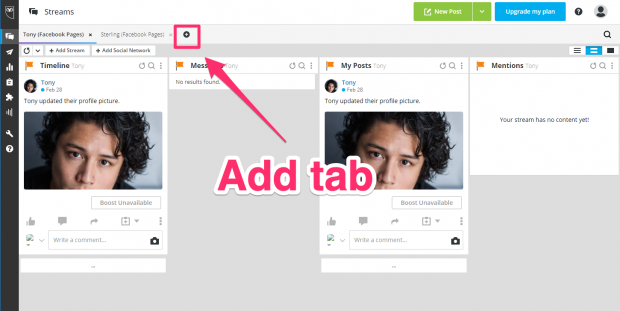 adding a tab in Hootsuite