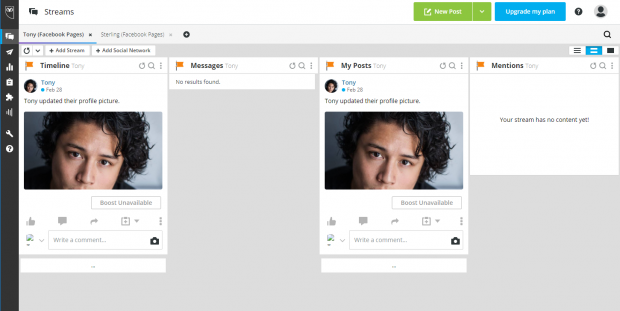 """Hootsuite dashboard showing user's Timeline, Messages, and """"My Posts"""" streams"""