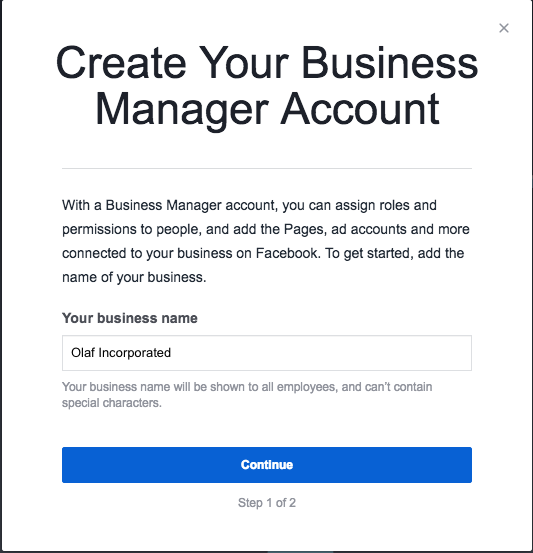 """Create your Business Manager Account prompt including """"Your business name"""" field"""