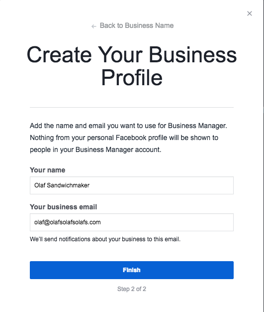 """Create Your Business Profile step 2 with fields """"Your Name"""" and """"Your Business Email"""""""