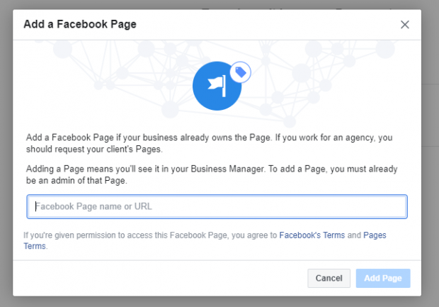 Add a Facebook Page prompt to add Facebook Page name or URL