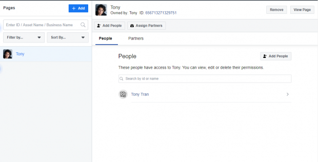 Facebook Page on left side of Tony's Hootsuite dashboard