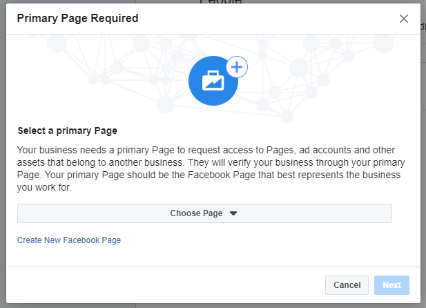 Primary Page Required notice, option to add primary page