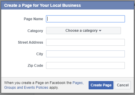 """Entering information for """"Your Local Business"""""""