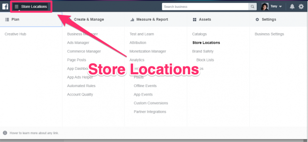 """""""Store Locations"""" button highlighted in Business Manager dashboard"""