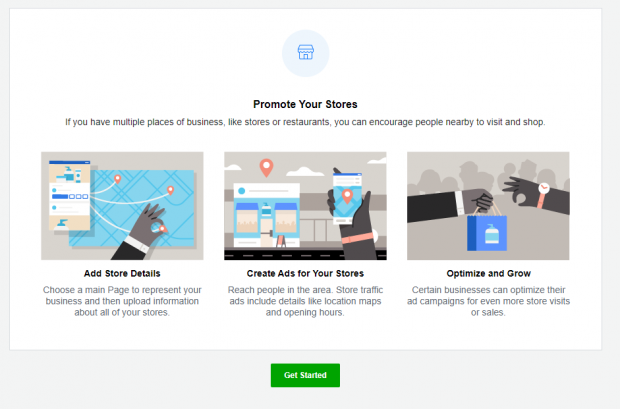 """""""Promote Your Stores"""" page with 3 options: Add Store Details, Create Ads for Your Stores, Optimize and Grow. Green """"Get Started"""" button."""