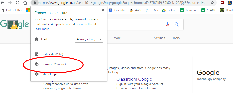 Screenshot of cookies on Google UK search page