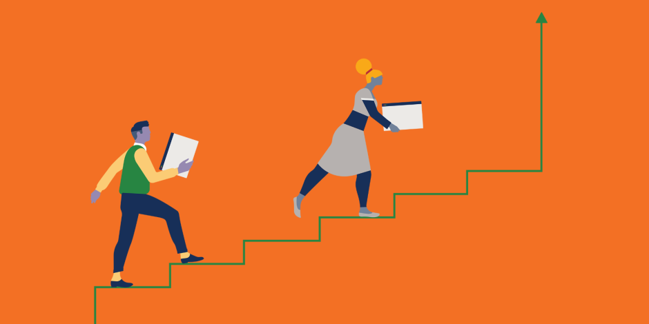 Illustration of two people climbing a line graph