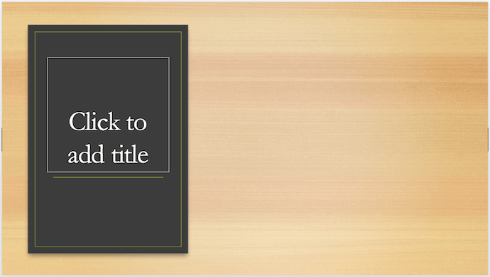 PowerPoint cover slide design idea with wooden textured background