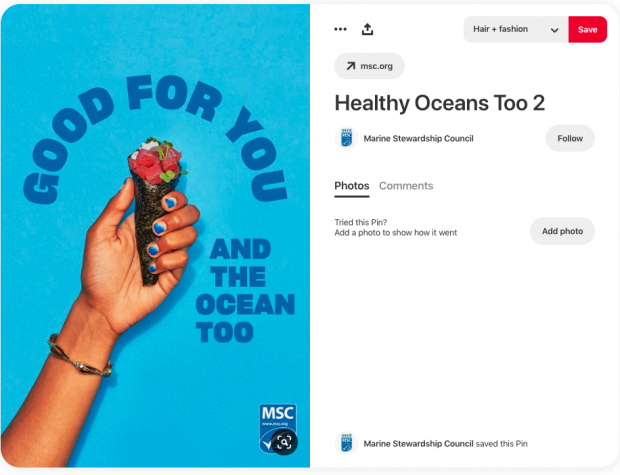 Pin from Marine Stewardship Council. Hand holds a sushi cone against a blue background. Text: Good for you and the ocean too. MSC logo in bottom right corner.