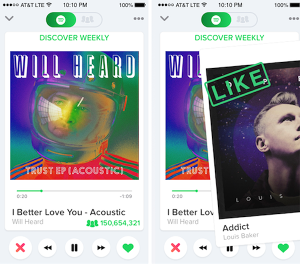Discover Song in Spotify like Tinder — UX Improvement