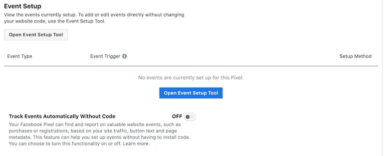 facebook ad manager pixel settings