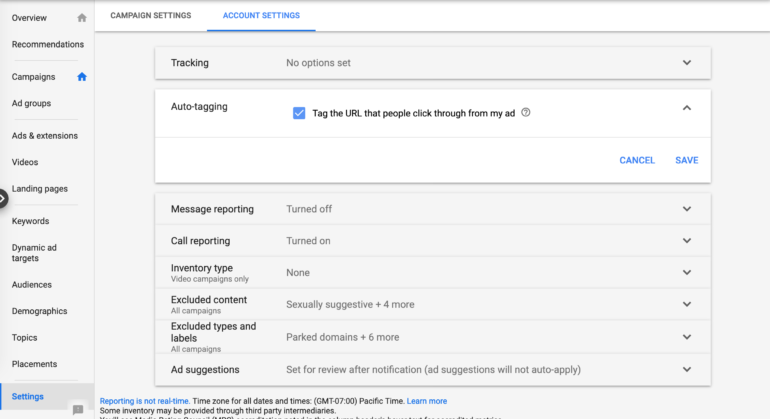 Google Ads account settings for autotagging