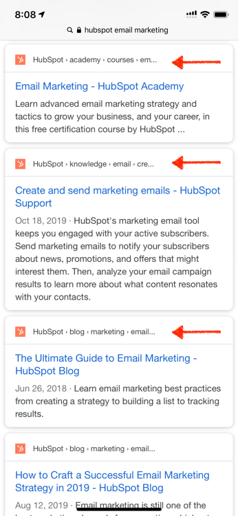 structured data breadcrumbs favicon mobile example hubspot