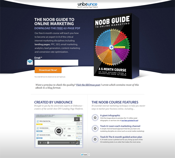 Unbounce landing page asking users for an email address.