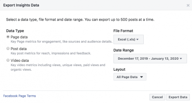 Screenshot showing process to export data from Facebook analytics