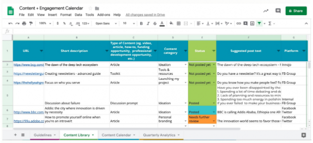 social media content calendar by DOT, content library tab