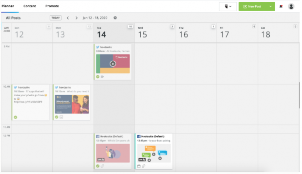 Hootsuite Planner with content for Hootsuite's Twitter feed