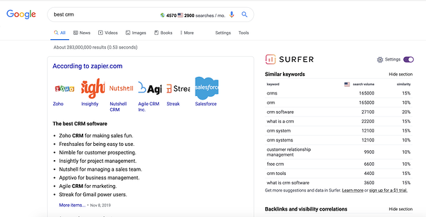 Keyword Surfer extension shows monthly search volume right on Google.