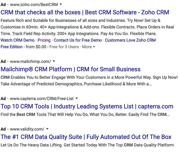 Google ads search results on search engine results page.