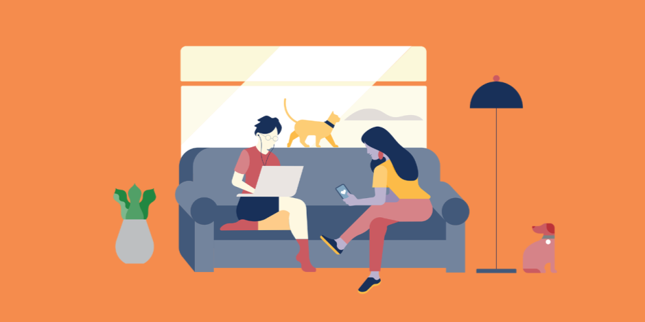 illustration of two women sitting on couch: one looking at phone, the other working on laptop