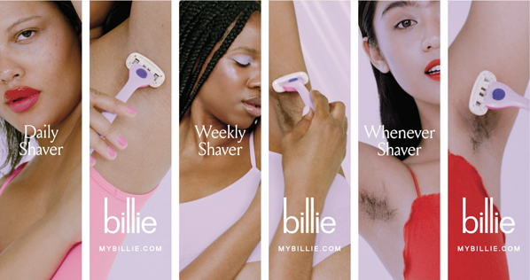 product marketing example billie body hair campaign