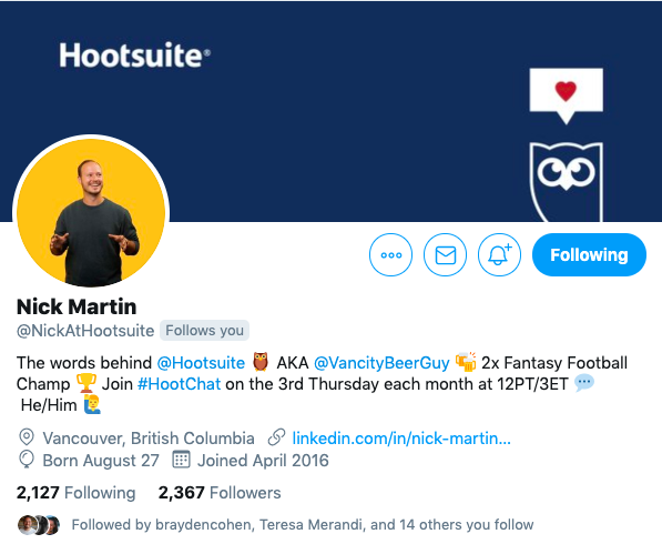 Twitter bio from Nick Martin, a Hootsuite employee
