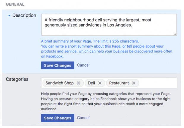 Description and Categories boxes for creating a new Facebook Business page