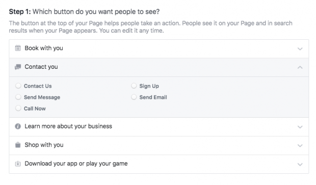Types of buttons you can add to your Facebook business page, including: Book with you, Contact you, Learn more, Shop with you, Download your app or play your game