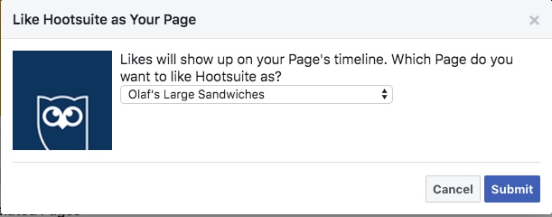 """Prompt showing that """"Likes"""" will show up on your Facebook business page's timeline"""