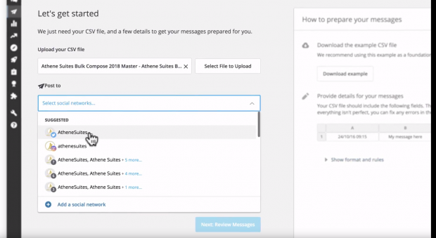 drop down menu of social profiles to post to from Bulk Composer in Hootsuite