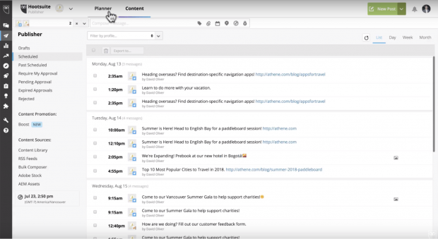 Viewing scheduled Tweets in Planner section of Hootsuite