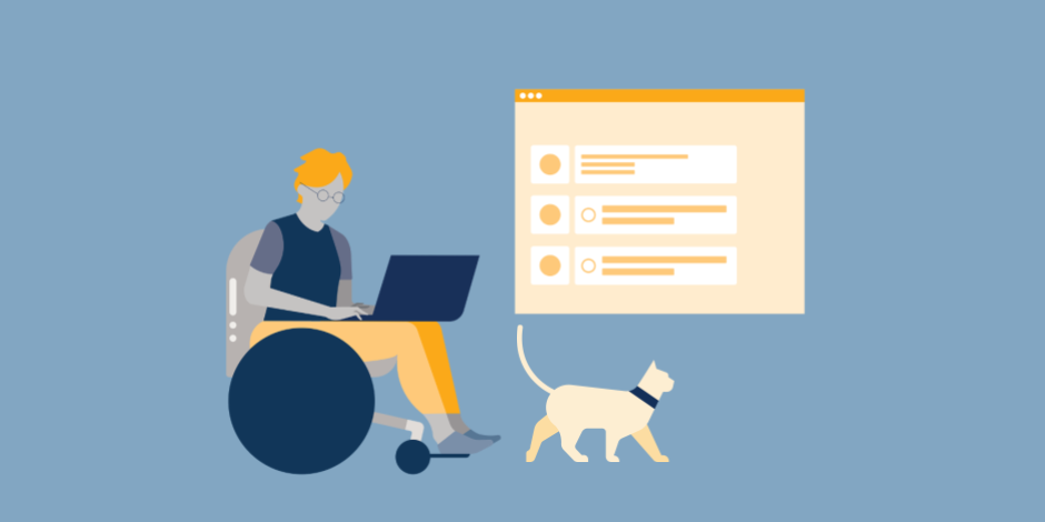 illustration of woman scheduling tweets on laptop and a cat