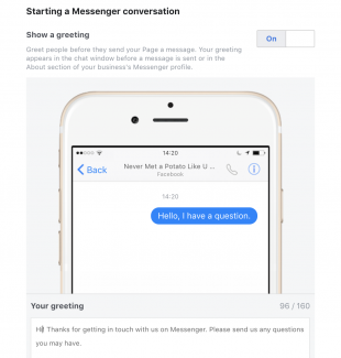 """Facebook Messenger greeting that says: """"Hi! Thanks for getting in touch..."""""""