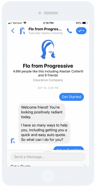 """Message from """"Flo from Progressive"""" in extremely positive tone"""