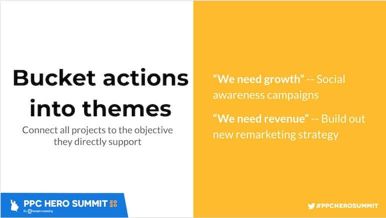 bucket your ppc action items into themes based on the business objective they affect