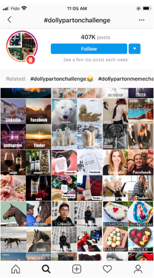 posts tagged with #DollyPartonChallenge, many of which are by brands