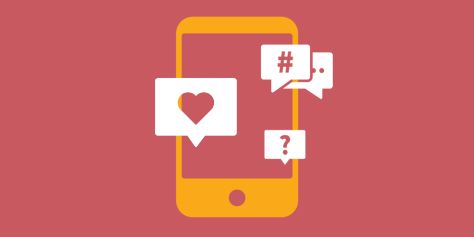 illustration of a phone receiving likes, comments, hashtags, and questions
