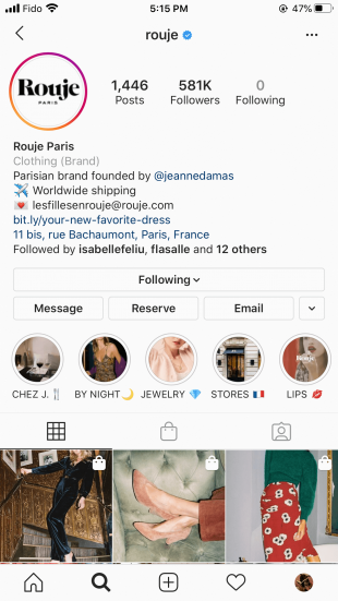 CTA button on an Instagram profile