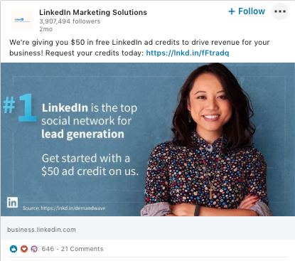 LinkedIn Marketing Solutions post about LinkedIn being the top platform for lead generation