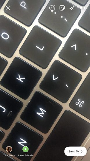 picture of a keyboard on Instagram Stories