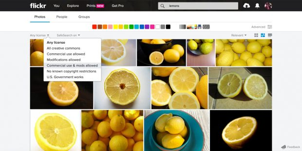 """Flickr image search with """"commercial use & mods allowed"""" filter"""