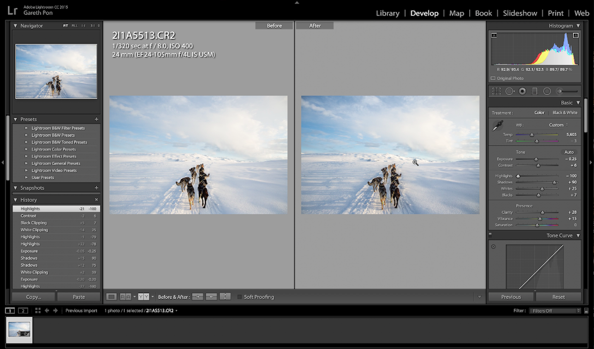 Example of editing in Lightroom