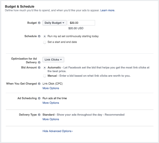 Instagram ads budget and scheduling options.