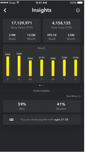 snapchat insights overview page